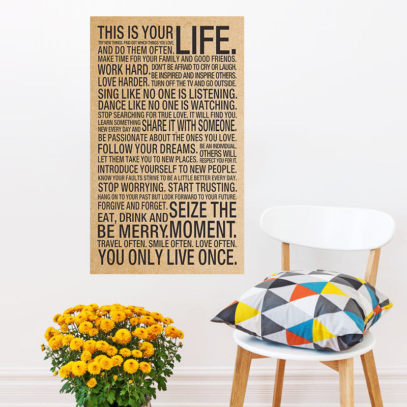 Motivational Inspirational Kraft Retro poster This Is Your Life print For Boys Girls Gift or Home School Decoration 72*43cm