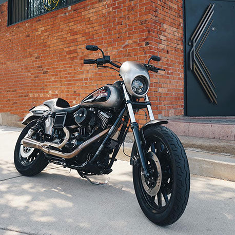 Harley-Davidson motorcycle ready for winter in Detroit.
