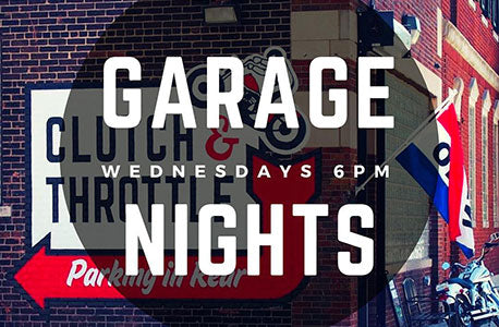 Poster image of garage nights on Wednesdays at Clutch & Throttle.
