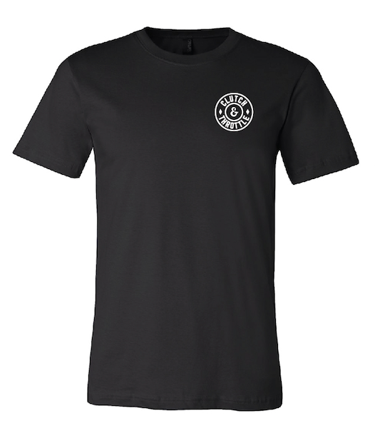Clutch & Throttle round logo tee - black