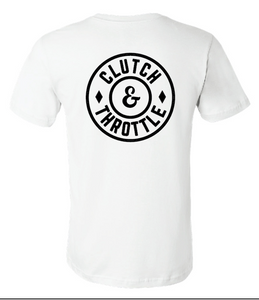 Clutch & Throttle round logo tee - white