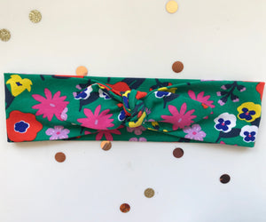 Fantasy Flower Green Jersey Stretch Headwrap Headband