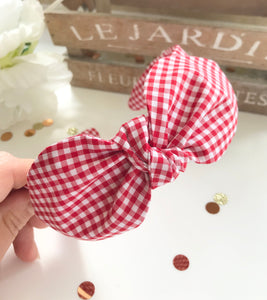 Classic Headwrap Headband in Red Gingham Print
