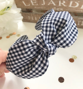 Classic Headwrap Headband in Navy Gingham Print