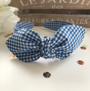 Classic Headwrap Headband in Light Blue Gingham Print
