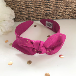 Classic Headwrap Headband in Speckled Metallic Berry