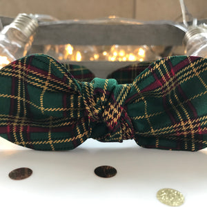 Classic Headwrap Headband in Green Tartan Cotton