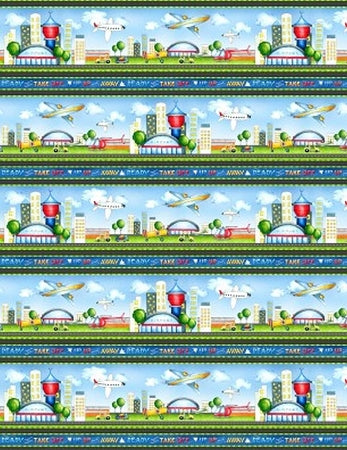 Ready For Takeoff Border Stripe fabric from Wilmington 65183-479