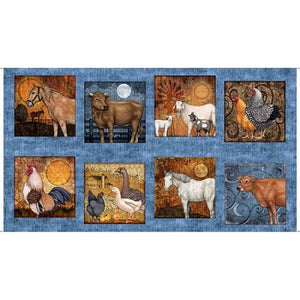 "Bountiful 24"" x 45"" Farm Animals Panel from Quilting Treasures 25976B"