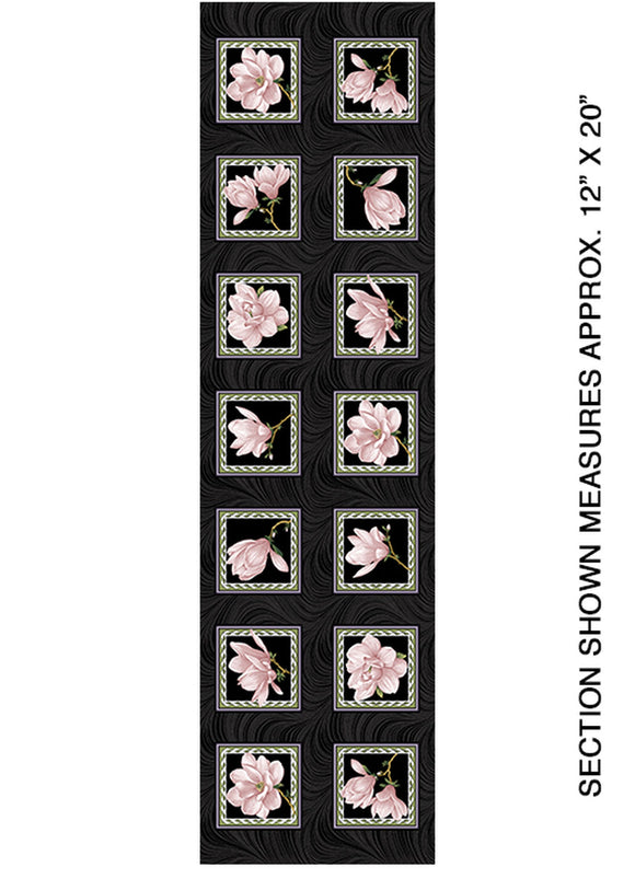 Accent On Magnolias Coral/Black Blocks Fabric 03616-20 from Benartex by the yard