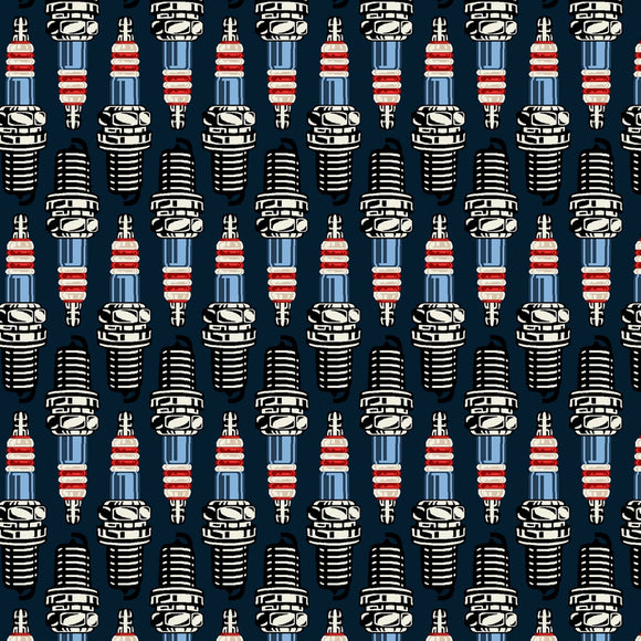 American Muscle Patriotic Spark Plugs Fabric 5335-78 from Studio E by the yard
