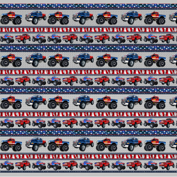 American Truckers Border Stripe Fabric 9478-90 from Henry Glass by the yard