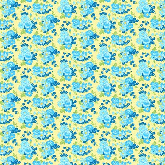 Amorette Yellow/Blue Rose Floral 98634-547 by Kaye England for Wilmington by the yard