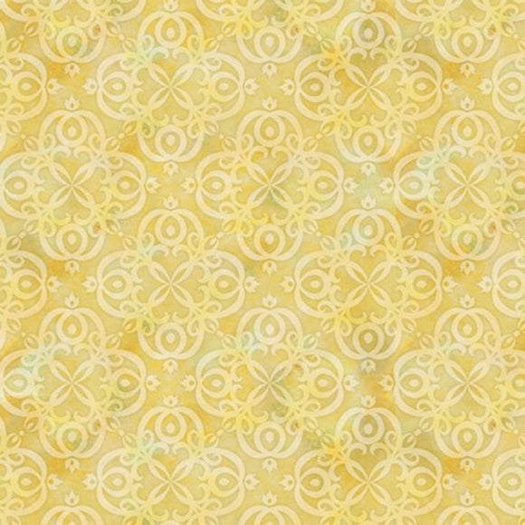 Arabesque Yellow Geo Fabric 24646-E from Quilting Treasures by the yard