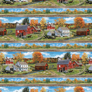 Autumn Grove Border Stripe Fabric 72265-734 from Wilmington by the yard