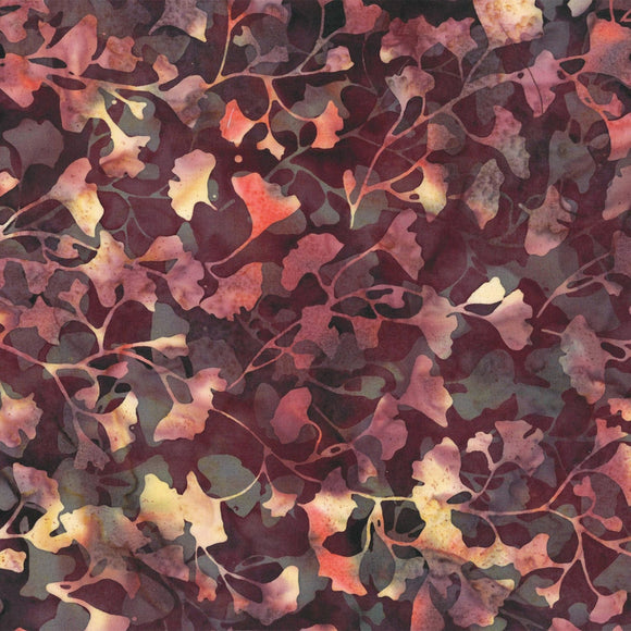 Bali Batik Night Shade Mini Ginko Burgundy Batik Fabric S2376-533 from Hoffman by the yard