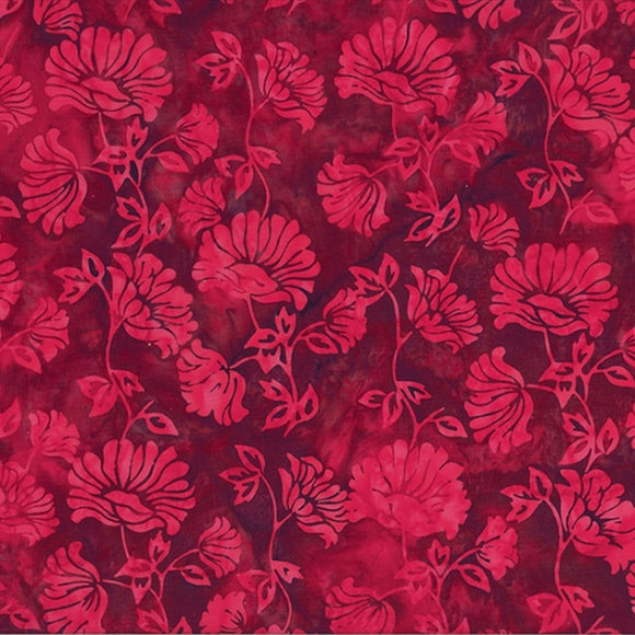 Bali Red Velvet Batik Floral Fabric S2331-568 from Hoffman by the yard