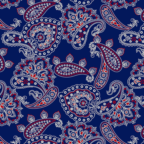 Bandana Ballad Navy Bandana Allover Fabric CX9125-NAVY from Michael Miller by the yard