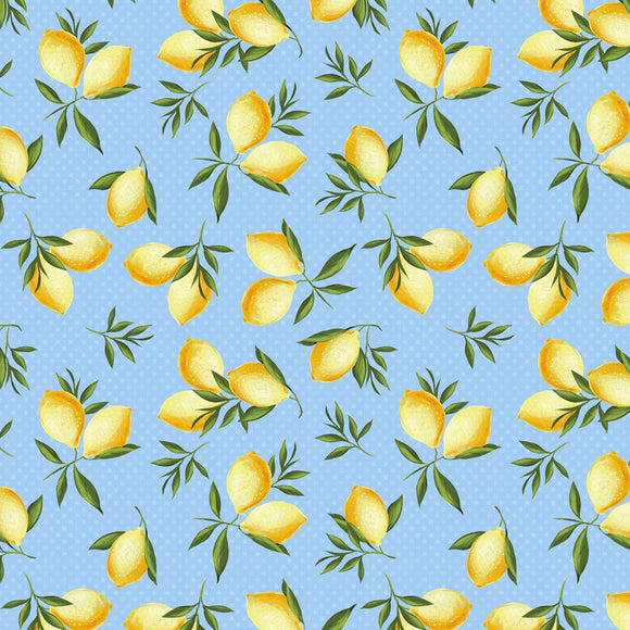Berry Best Light Blue Lemon Toss Fabric 82606-405 from Wilmington by the yard