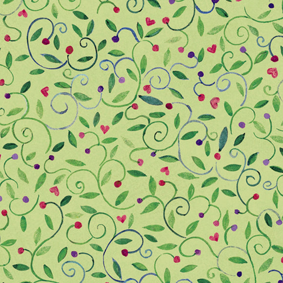 Bless This House Leaf Green Vines Fabric 27297-H from Quilting Treasures by the yard