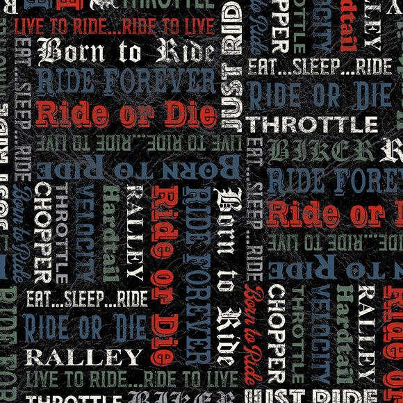 Born To Ride Black Words Motorcycle Fabric 52243-3 from Windham by the yard
