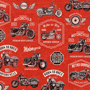 Born To Ride Red Vintage Motorcycle Fabric 52240-5 from Windham by the yard