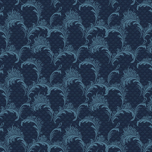 Bricolage Navy Plumes Fabric 98649-444 from Wilmington by the yard