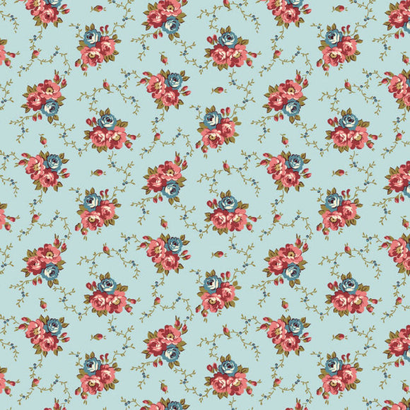 Bricolage Light Blue Floral Fabric 98645-437 from Wilmington by the yard