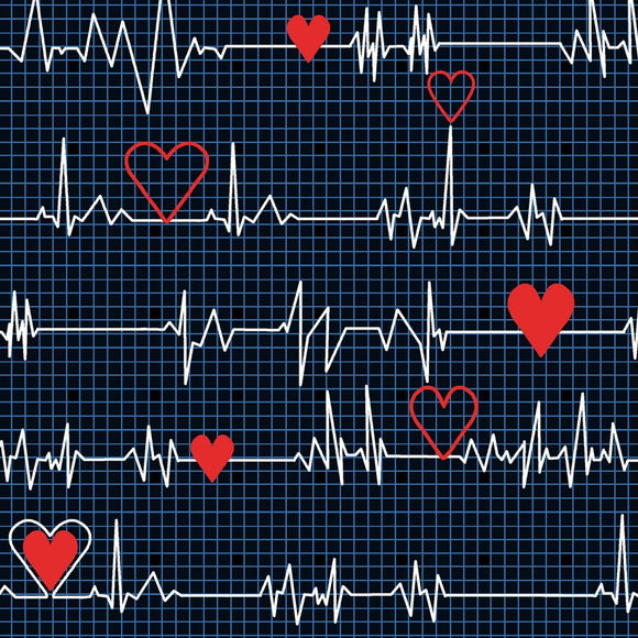 Calling All Nurses Black Heartbeat fabric 37302-1 from Windham by the yard