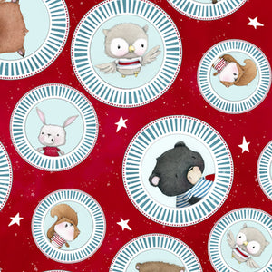 Campfire Friends Red Animal Medallions Fabric 27460-R from Quilting Treasures by the yard