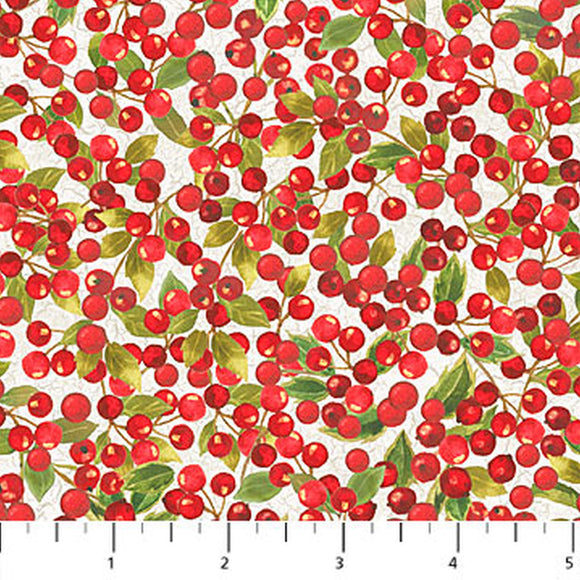 Cardinal Woods Cream Holly Berries Holiday Fabric 22838-11 from Northcott by the yard