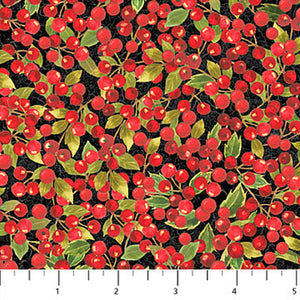 Cardinal Woods Red Holly Berries on Black Holiday Fabric 22839-99 from Northcott by the yard