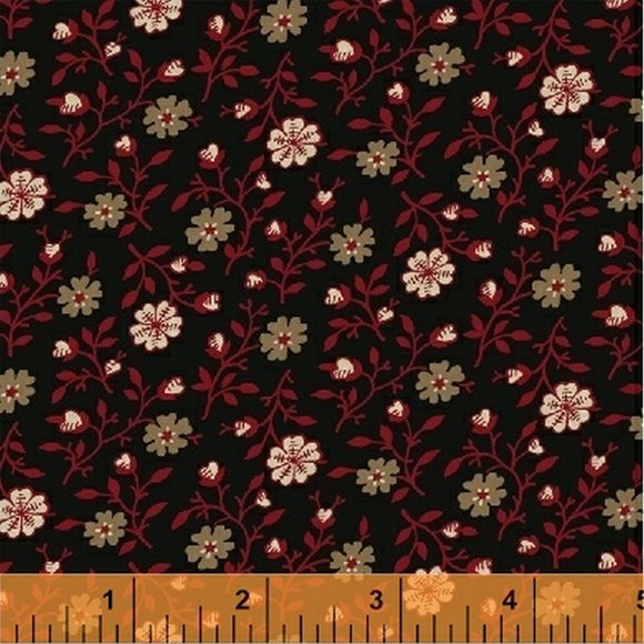 Carmen Black Reproduction Fabric 41040-3 from Nancy Gere for Windham by the yard