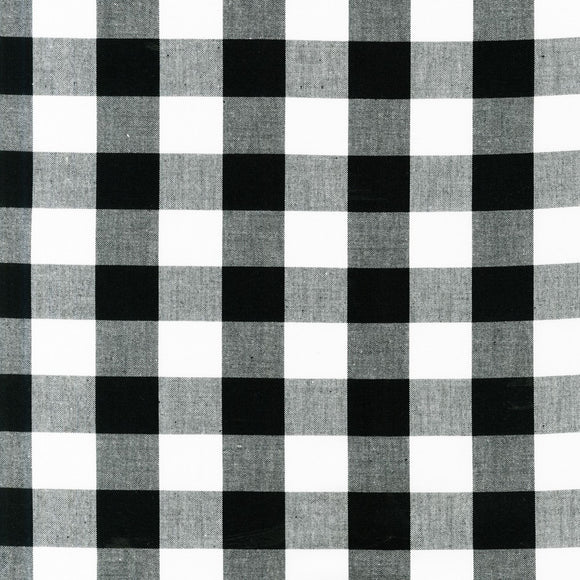 Carolina One Inch Black Buffalo Check Gingham Fabric P98112 from Robert Kaufman by the yard