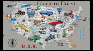 "Coast To Coast 24"" x 44"" US Map Panel B-9198P-90 from Blank by the panel"