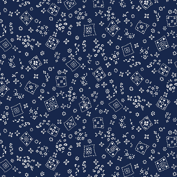 Country Rodeo Navy Tossed Bandana Fabric CX9461-NAVY-D from Michael Miller by the yard