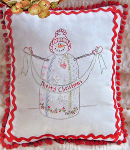 Crazy Quilt Snowman Pillow Pattern from Crabapple Hill Studio