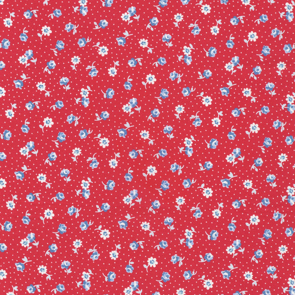 Darlene's Favorites Lipstick Red 1930's Reproduction Floral Fabric 20071-121 from Robert Kaufman by the yard