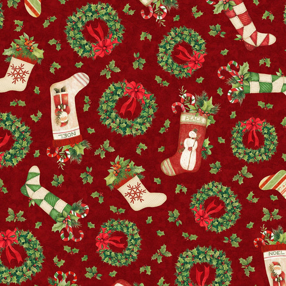 Evergreen Farm Red Christmas Toss Fabric 39647-373 from Wilmington by the yard