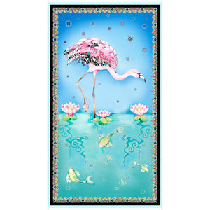 "Fancy Flamingos 24"" x 43"" Panel 27304-X from Quilting Treasures by the panel"