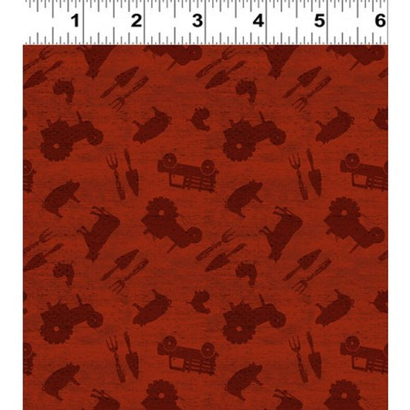 Farmhouse Life Red Allover Fabric Y2534-83 from Clothworks by the yard