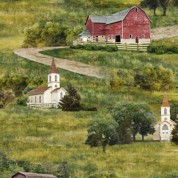 Farmstead Scenic Fabric 82560-732 from Wilmington by the yard