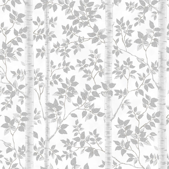 First Snowfall White Trees Fabric S7714-3S w/Silver Metallic from Hoffman by the yard