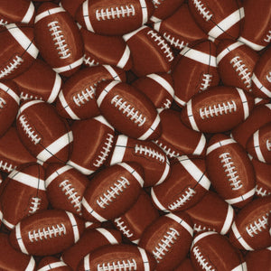Sports Brown Footballs Fabric C4822 from Timeless Treasures by the yard