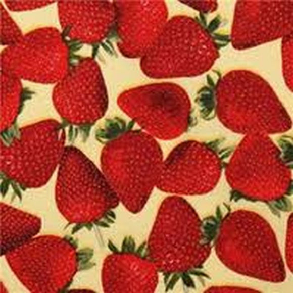 Fresh Picked Strawberries on Yellow fabric 23003S from Quilting Treasures