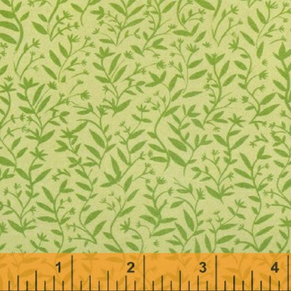 Greet The Day Green Leaf Fabric 29481-4 from Windham by the yard