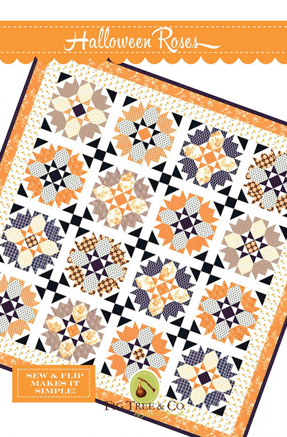 Halloween Roses Quilt Pattern from Fig Tree & Company