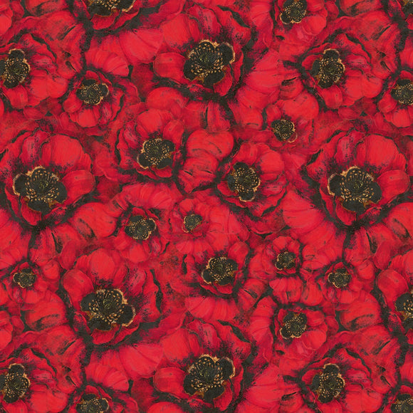 Harlequin Poppies Red Packed Poppies Fabric 39629-935 from Wilmington by the yard