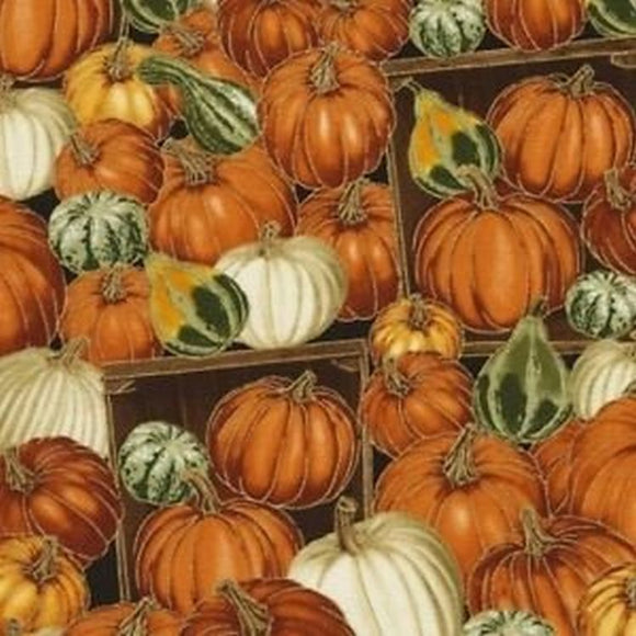 Harvest Metallic Pumpkins CM5206 from Timeless Treasures