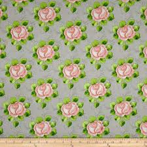 Hatters Tea Party Pink Roses on Gray Fabric 1649-26151-K from Quilting Treasures by the yard